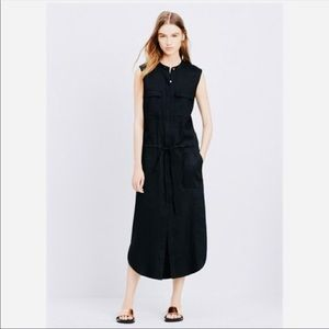 Vince Stretch Linen Cargo Midi Dress, blac…